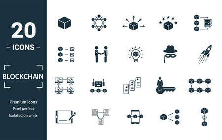 Jeu d'icônes de blockchain. Inclure le bloc d'éléments créatifs, la distribution, la confirmation, l'anonymat, les icônes de protocole. Peut être utilisé pour le rapport, la présentation, le diagramme, la conception Web.