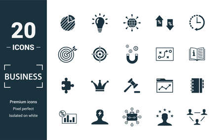 Business icon set. Include creative elements diagram, worldwide, precision, strategy, concept icons. Can be used for report, presentation, diagram, web design.