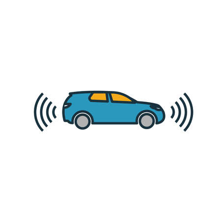 Smart Car icon. Simple element from smart devices icons collection. Creative Smart Car icon ui, ux, apps, software and infographics. Çizim