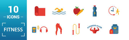Fitness icon set. Include creative elements pool swimming, calories burn, water, junk food, recovery icons. Can be used for report, presentation, diagram, web design.