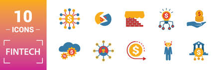 Fintech icon set. Include creative elements online banking, direct payment, fintech, cryptocurrency, fintech industry icons. Can be used for report, presentation, diagram, web design. Illusztráció