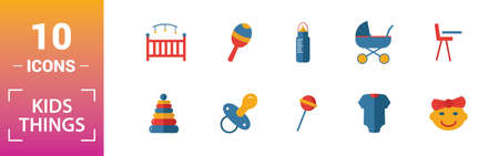 Child Staff icon set. Include creative elements stroller, bottle with pacifier, baby bike, diaper, family icons. Can be used for report, presentation, diagram, web design. Illusztráció