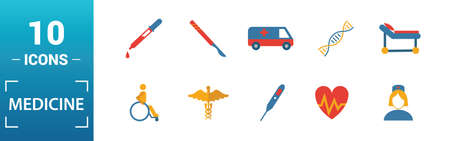 Medicine icon set. Include creative elements medical bag, pills, mixture, dna, pipette icons. Can be used for report, presentation, diagram, web design.