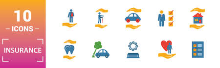 Insurance icon set. Include creative elements medical insurance, travel, life insurance, finance insurance, protection icons. Can be used for report, presentation, diagram, web design. Çizim