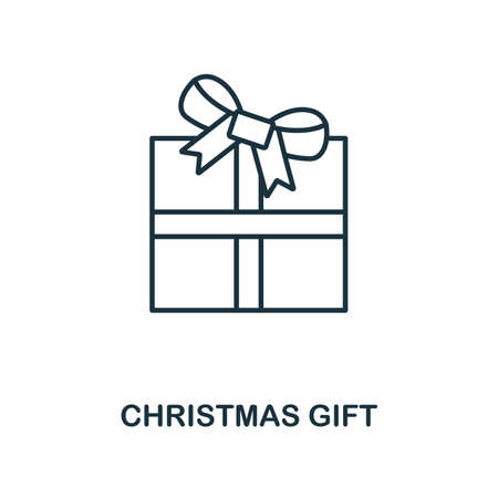 Christmas Gift icon. Line style element from christmas icon collection. Thin Christmas Gift icon for web design, apps, software, print usage.