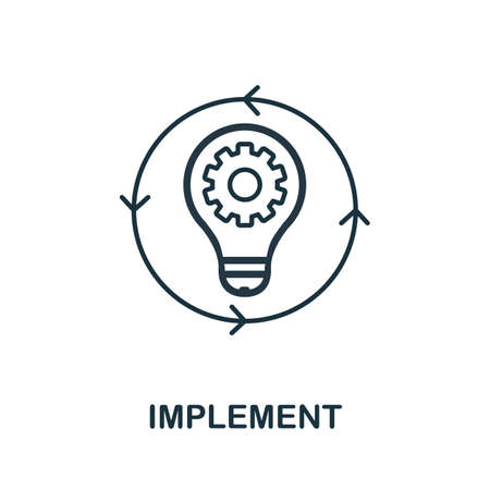 Implement line icon. Thin style element from business administration collection. Simple Implement icon for web design, apps and software.