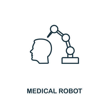 Medical Robot line icon. Thin style element from future technology collection. Outline Medical Robot icon for web design, apps and software. Illustration