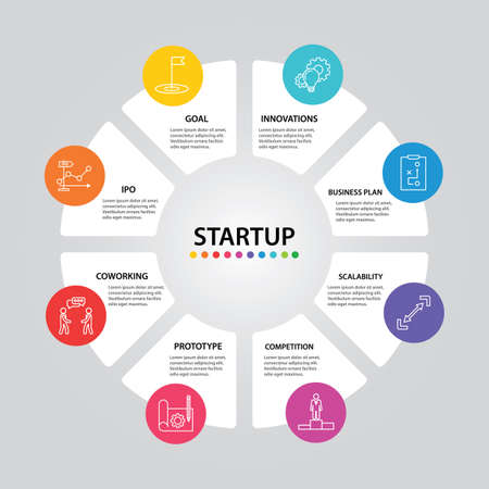 Startup Infographics vector design. Timeline concept include goal, innovations, business plan icons. Can be used for report, presentation, diagram, web design.