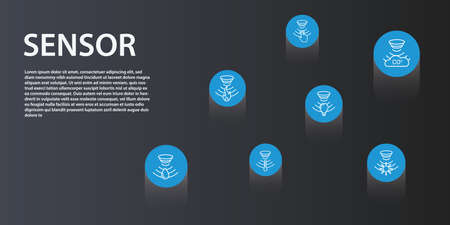 Sensor Infographics vector design. Timeline concept include flame detector, gas sensor, light sensor icons. Can be used for report, presentation, diagram, web design. Çizim
