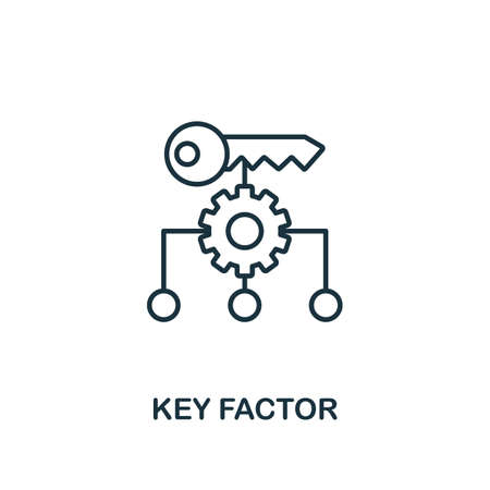 Key Factor icon. Line style element from business strategy collection. Thin Key Factor icon for web design, software and infographics. Ilustração