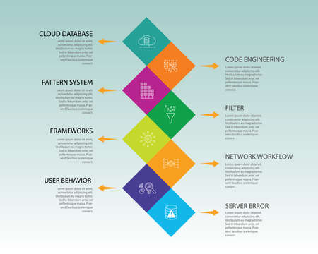 Big Data Infographics design. Timeline concept include cloud hosting, code engineering, user prediction icons. Can be used for report, presentation, diagram, web design. Stock Photo