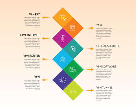 Vpn Infographics design. Timeline concept include vpn pay, archiving, home internet icons. Can be used for report, presentation, diagram, web design.