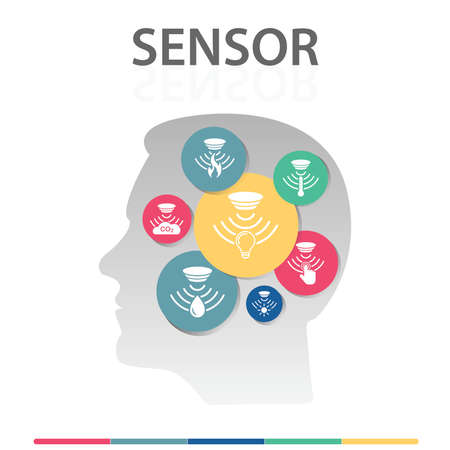 Sensor Infographics design. Timeline concept include flame detector, gas sensor, light sensor icons. Can be used for report, presentation, diagram, web design. Stock Photo