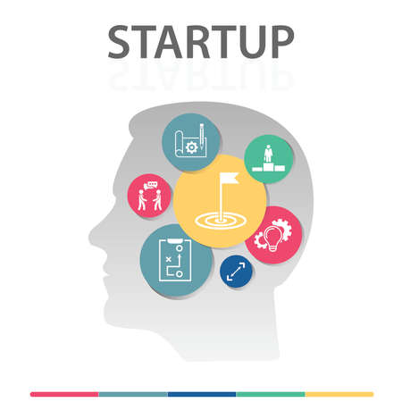 Startup Infographics design. Timeline concept include goal, innovations, business plan icons. Can be used for report, presentation, diagram, web design. 版權商用圖片