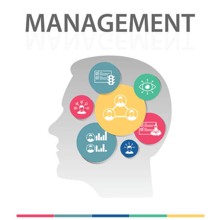 Management Infographics design. Timeline concept include interaction, specialist, team characteristics icons. Can be used for report, presentation, diagram, web design. 版權商用圖片