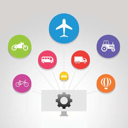 Transport Infographics design. Timeline concept include airplane, car, motorcycle icons. Can be used for report, presentation, diagram, web design.