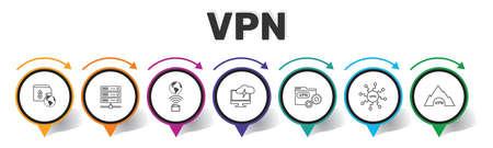 Vpn Infographics design. Timeline concept include vpn pay, archiving, home internet icons. Can be used for report, presentation, diagram, web design. Reklamní fotografie