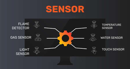 Sensor Infographics vector design. Timeline concept include flame detector, gas sensor, light sensor icons. Can be used for report, presentation, diagram, web design. Ilustração