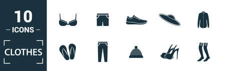 Clothes icon set. Include creative elements t-shirt, jacket, pants, socks, shoes icons. Can be used for report, presentation, diagram, web design.
