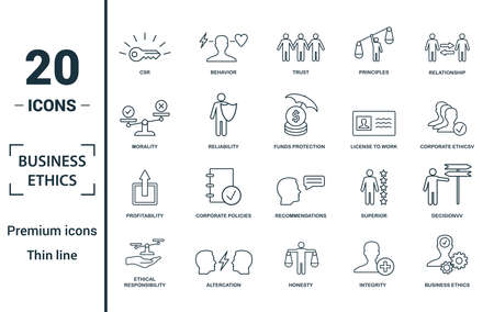 Business Ethics icon set. Include creative elements csr, trust, morality, license to work, profitability icons. Can be used for report, presentation, diagram, web design.