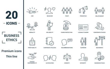 Jeu d'icônes d'éthique des affaires. Incluez des éléments créatifs RSE, confiance, moralité, licence de travail, icônes de rentabilité. Peut être utilisé pour le rapport, la présentation, le diagramme, la conception Web.