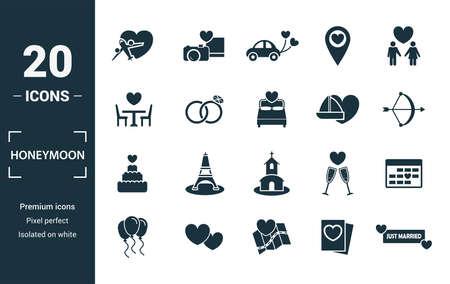 Jeu d'icônes de lune de miel. Inclure des éléments créatifs de voyage, juste marié, dîner, voyage au sanglier, icônes de gâteau. Peut être utilisé pour le rapport, la présentation, le diagramme, la conception Web.