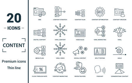 Content icon set. Include creative elements cms, content plan, digital content, viral marketing, media plan icons. Can be used for report, presentation, diagram, web design. Ilustração