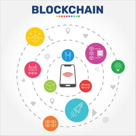 Blockchain Infographics design. Timeline concept include block, distribution, proof of stake icons. Can be used for report, presentation, diagram, web design.