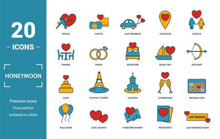 Honeymoon icon set. Include creative elements travel, just married, dinner, boat trip, cake icons. Can be used for report, presentation, diagram, web design.