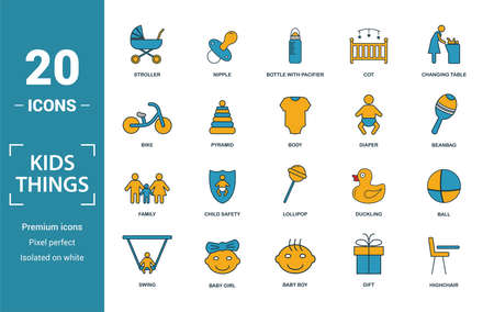 Child Staff icon set. Include creative elements stroller, bottle with pacifier, baby bike, diaper, family icons. Can be used for report, presentation, diagram, web design. Stock Illustratie