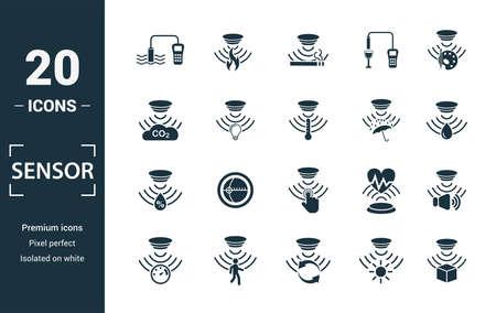 Jeu d'icônes de capteur. Inclure des éléments créatifs capteur de qualité de l'eau, détecteur de fumée, gaz, capteur de pluie, icônes de capteur d'humidité. Peut être utilisé pour le rapport, la présentation, le diagramme, la conception Web.