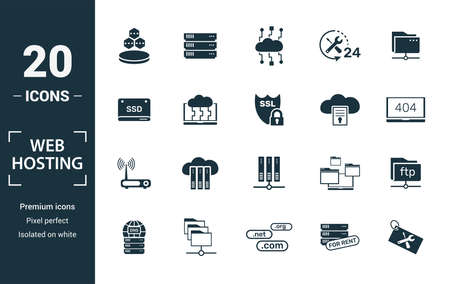 Web Hosting icon set. Include creative elements data structure, cloud technology, ssd, file access, modem icons. Can be used for report, presentation, diagram, web design. Vektorové ilustrace