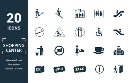 Shopping Center Icons icon set. Include creative elements stairway up, elevator, smoking, disabled, garbage icons. Can be used for report, presentation, diagram, web design. Ilustração