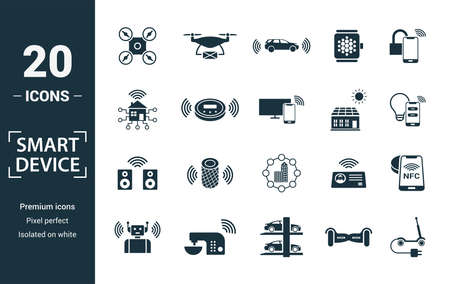 Smart Devices icon set. Include creative elements drone, smart car, smart house, solar battery roof, smart speaker icons. Can be used for report, presentation, diagram, web design. Standard-Bild - 138330165