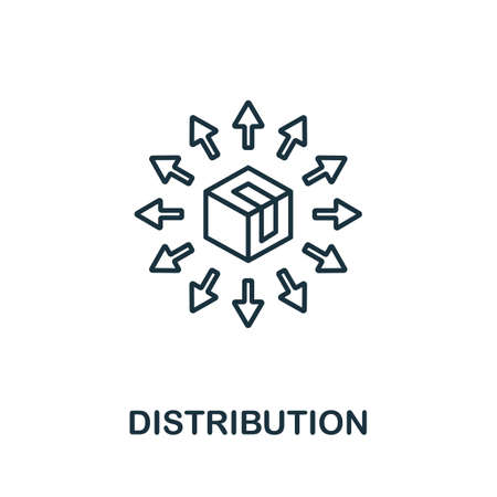 Distribution line icon. Thin style element from business administration collection. Simple Distribution icon for web design, apps and software.