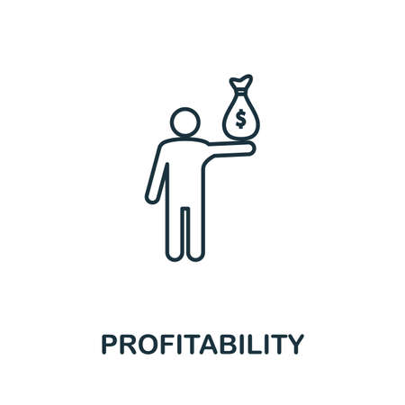 Profitability line icon. Thin style element from business administration collection. Simple Profitability icon for web design, apps and software. Ilustrace