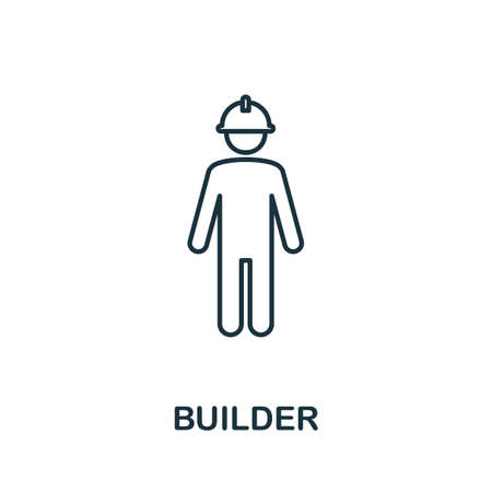 Builder line icon. Thin style element from construction tools icons collection. Outline Builder icon for computer and mobile.