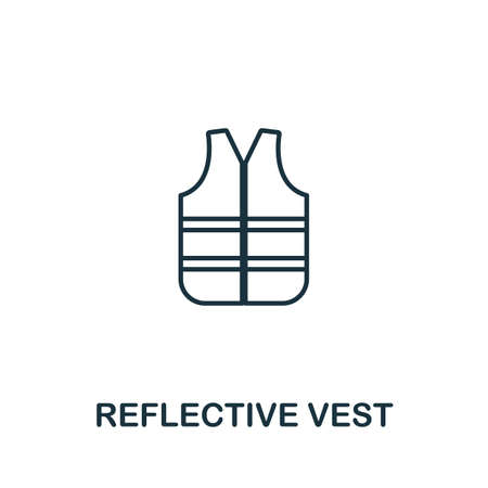 Reflective Vest line icon. Thin style element from construction tools icons collection. Outline Reflective Vest icon for computer and mobile. 免版税图像 - 138474018