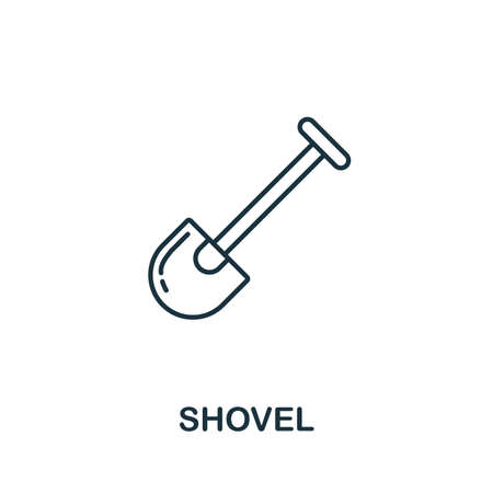 Shovel line icon. Thin style element from construction tools icons collection. Outline Shovel icon for computer and mobile.