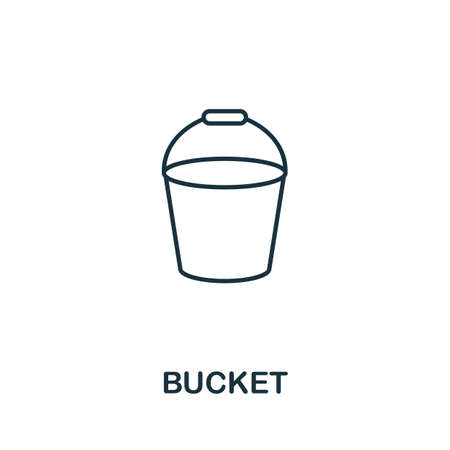 Bucket line icon. Thin style element from construction tools icons collection. Outline Bucket icon for computer and mobile.