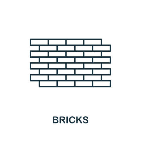 Bricks line icon. Thin style element from construction tools icons collection. Outline Bricks icon for computer and mobile.