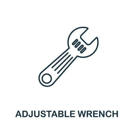Adjustable Wrench line icon. Thin style element from construction tools icons collection. Outline Adjustable Wrench icon for computer and mobile. Ilustrace
