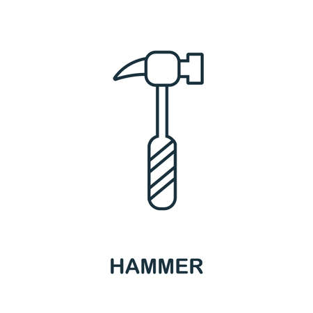 Hammer line icon. Thin style element from construction tools icons collection. Outline Hammer icon for computer and mobile.