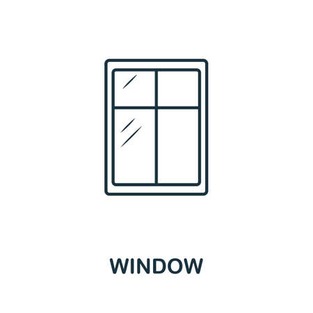 Window line icon. Thin style element from construction tools icons collection. Outline Window icon for computer and mobile.