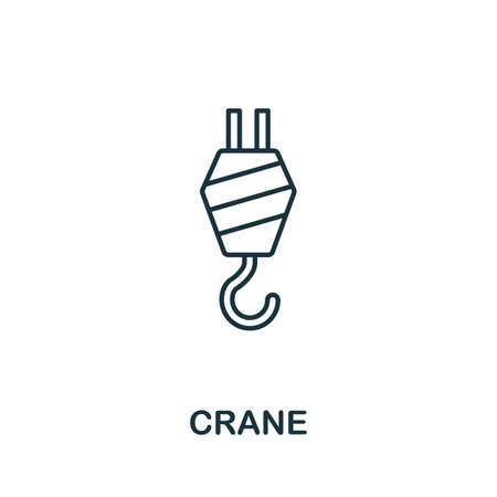 Crane line icon. Thin style element from construction tools icons collection. Outline Crane icon for computer and mobile.