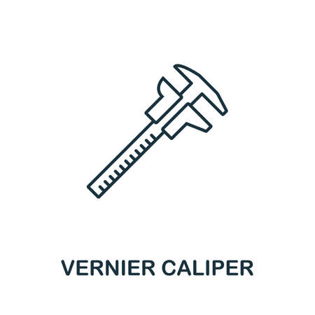 Vernier Caliper line icon. Thin style element from construction tools icons collection. Outline Vernier Caliper icon for computer and mobile.