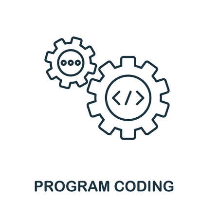 Program Coding line icon. Thin design style from programmer icon collection. Simple program coding icon for infographics and templates. Illustration