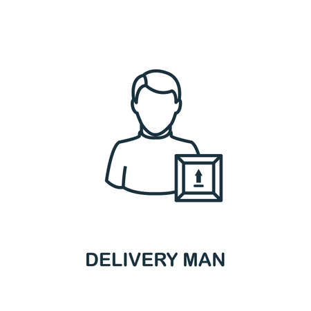 Delivery Man line icon. Thin design style from logistics delivery icon collection. Simple delivery man icon for infographics and templates.