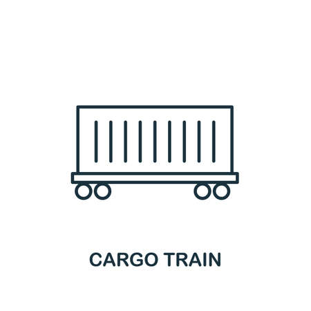 Cargo Train line icon. Thin design style from logistics delivery icon collection. Simple cargo train icon for infographics and templates.