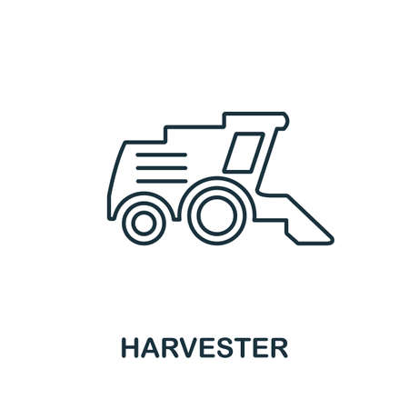 Harvester icon. Thin line style element from farm icons collection. Outline Harvester icon for computer and mobile.